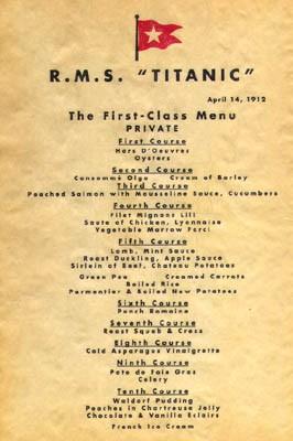泰坦尼克菜谱拍高价 尘封102年后近60万成交